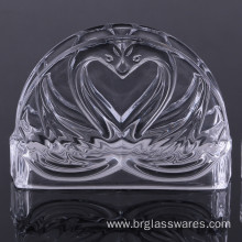 Unique Double Swan Design Crystal Glass Napkin Holder
