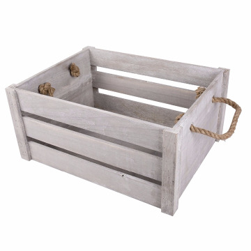 New rope handle display storage wooden crates