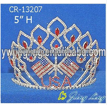 Red Blue Stone USA Flag Pageant Crowns