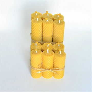 Gift Hand Rolled Pure Natural Beeswax Pillar Candle