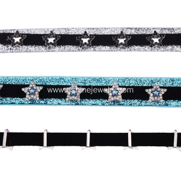 Crystal Beads Star Charm Choker Women Necklace Velvet Choker