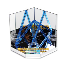 Apex small clear blue acrylic mirror advertising display