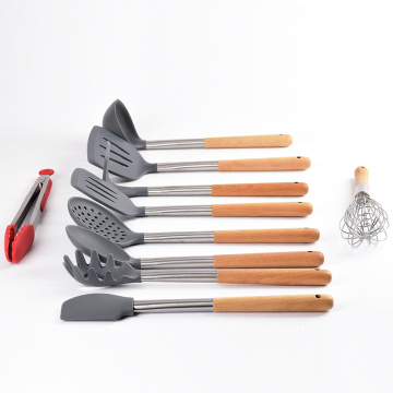 bamboo tools silicone kitchen utensils with wooden handle