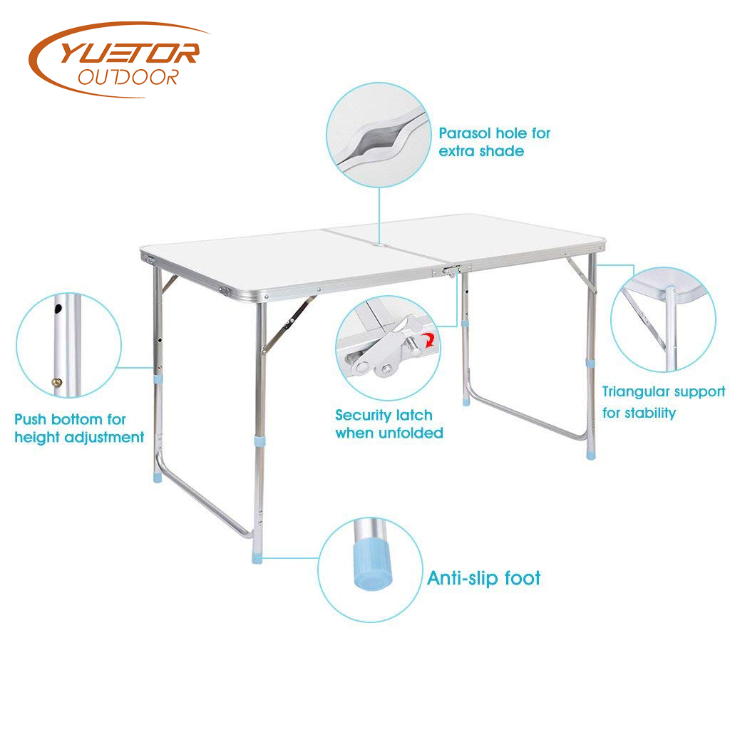 Portable and Adjustable White Aluminum Folding event Table with 4 Foot (4)
