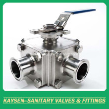 Sanitary square three way ball valve