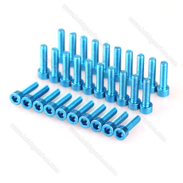 Yenza ngokwezifiso umbala we-aluminium hex socket round / cap head screw