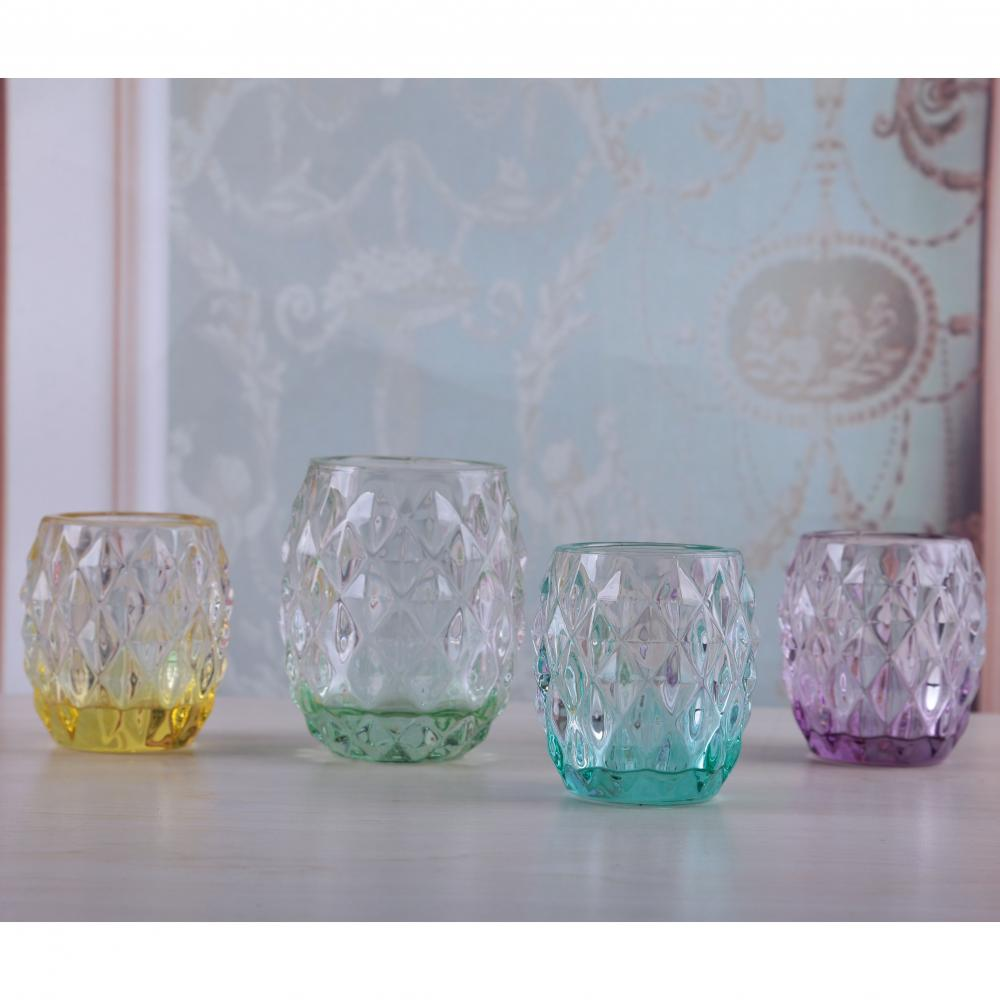 Glass Embossed Tealight Holder