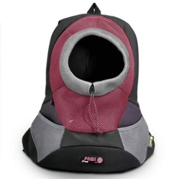 Burgundy Small PVC and Mesh Pet Backpack