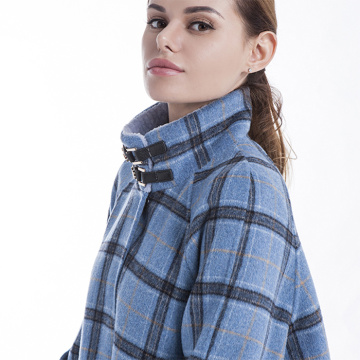 Chequered blue cashmere overcoat
