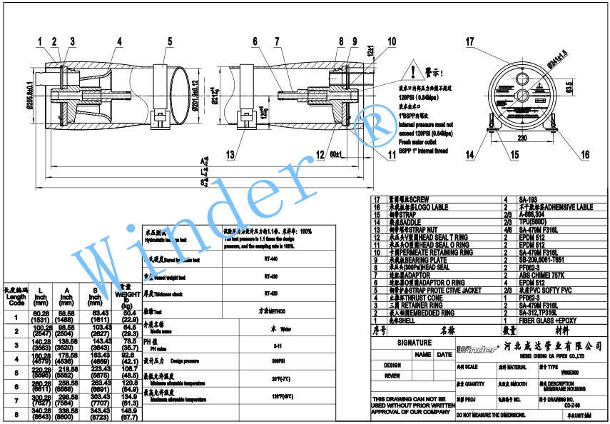 80end port FRP membrane housings drawing