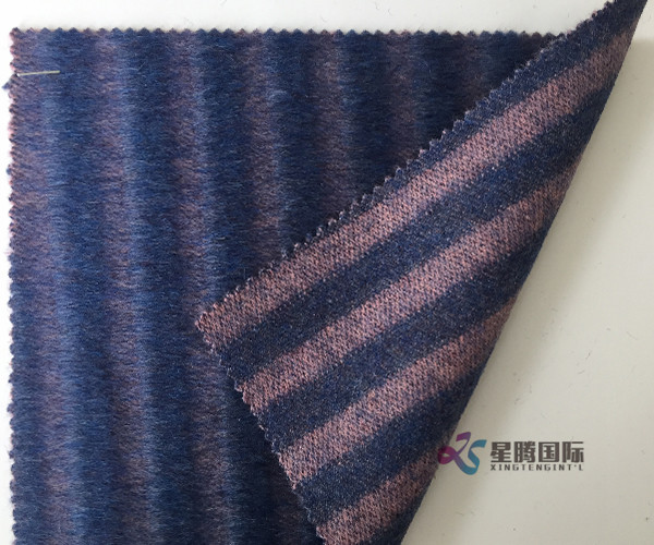 Stripe Design Alpaca Blended Coat Fabric