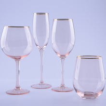 Pink Colored Red Wine Glasses With Gold Rim