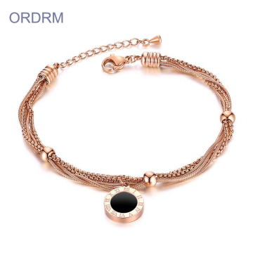 Rose Gold Multi Chain Roman Numeral Bracelet Womens