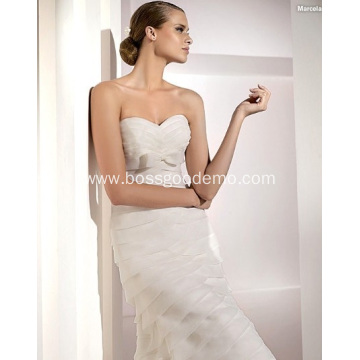 Elegant Trumpet Mermaid Sweetheart Cathedral Train Organza Bowknot Tiered  Wedding Dress