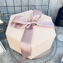 Hexagen Paper Box With Big Ribbon Bow