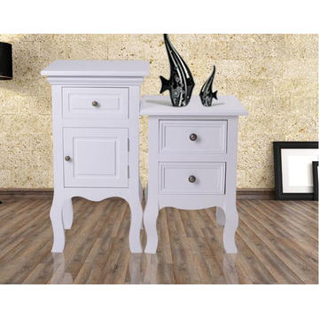 White ivory wooden bedside table cabinet 2 drawers night stand
