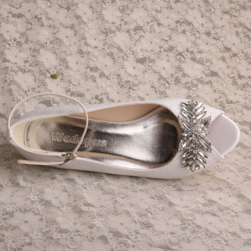 White Lace Prom Wedge Shoes for Women Wedding
