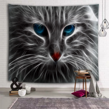 Black Cat Tapestry Cat with Blue Eyes Wall Hanging Animal Unique Wall Tapestry for Livingroom Bedroom Home Dorm Decor