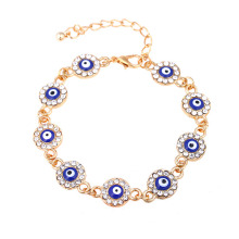 Turkish crystal rose gold evil eye bracelet
