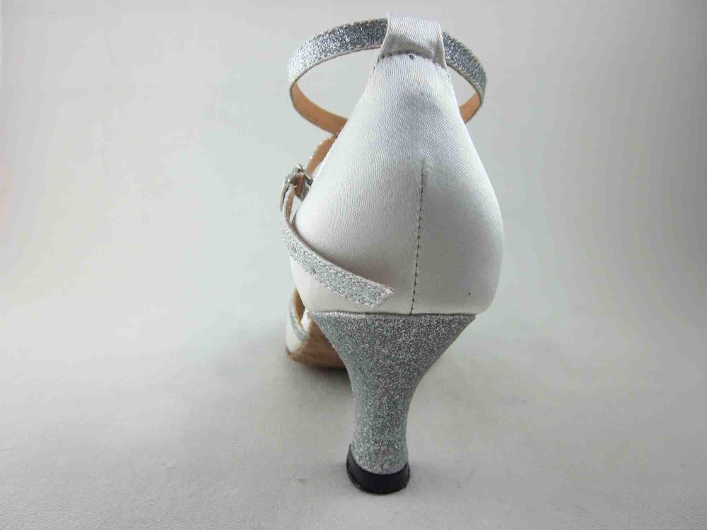 White Satin Ballroom Shoes For Ladies