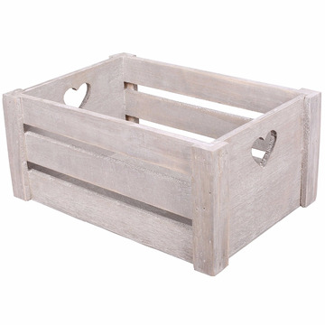 Lovely Heart Cut Handle Vintage Wooden Crates Storage Tray Rack Shelves