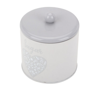 Light Grey Cilnder Tea Sugar Coffee Canister