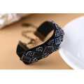 Tiny Measle Beads Velvet Bangle Lace Cuffs Locking Bracelet