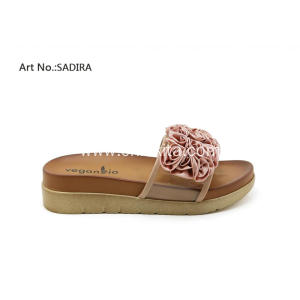 Veganbio Flats Lucite Slide Sandals Shoes With Flowers