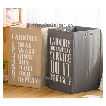 Collapsible black gray color printing oxford cloth laundry basket