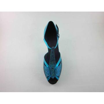 Blue leather girls latin shoes