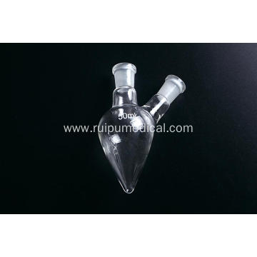 Pear Shaped Flask with Two Necks Standard Ground Mouth
