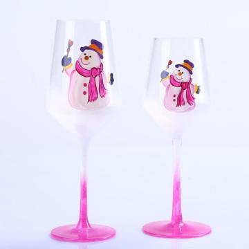Transparent Glass Pink Snowman Sticker High Stem Red Wine Glass