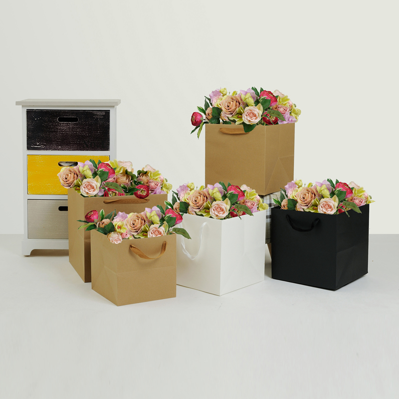 Square Portable Flower Kraft Paper Packing Box