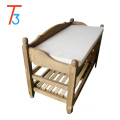 white antique solid wood bench with cushion and drawers