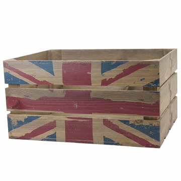 Wooden Rustic Crate with Union Jack print