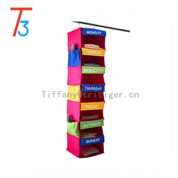 Good quality Non Woven Fabric Foldable Hanging Closet shoes Organizer 7 shelf