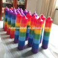 Colorful rainbow chakra pillar candle for energy body