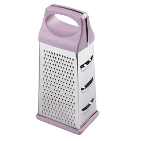 stainless steel manual box grater with plastic handle