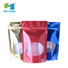 Laminated plastic protein powder packaging with zipper