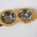 Bamboo Elevated Dog Pet Food and Water Bowls