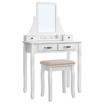 French Modern Design White Painted Cheap Makeup Vanity Table and Mirror