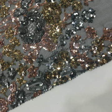 European Hot Selling Green Sequins Embroidery Fabric