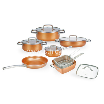Stainless Steel Ceramic Copper Square Pot Cookware Set