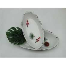 Oval Boat Shape White Wooden Plate