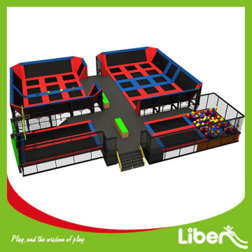 professional indoor trampoline park with climbing wall