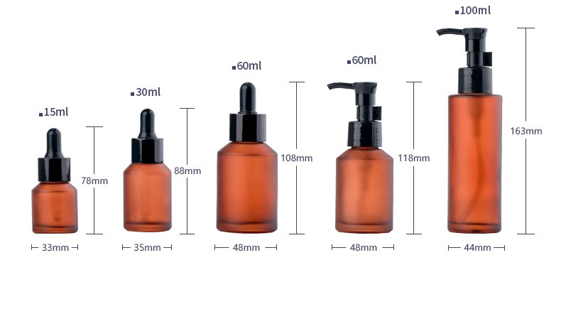 Light-proof glass spray toner water spray bottle pressure lotion oil pump bottle essential oil cosmetic pressure dropper bottle (7)