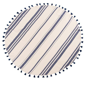 organic travel round beach towel with fringe