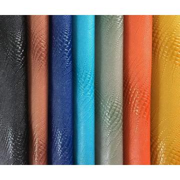 High glossy surface snake pattern PVC leather