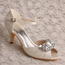 Mary Jane Lace and Crystal Wedding Shoe Ivory Lace