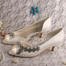 Small Heel Wedding Shoes Ivory Satin